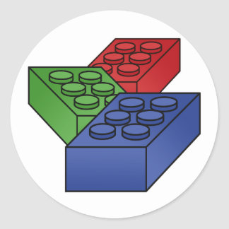 Pattern - Bright Building Blocks Classic Round Sticker