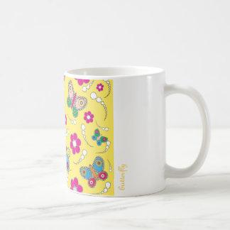 pattern butterfly yellow coffee mug