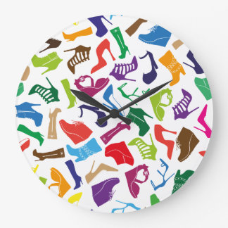 Pattern colorful Women's shoes Large Clock