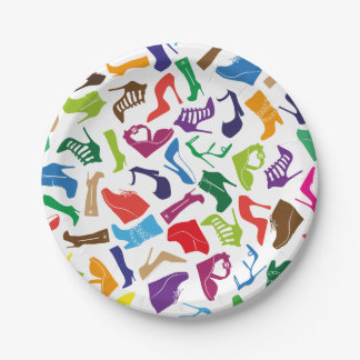 Pattern colorful Women's shoes Paper Plate