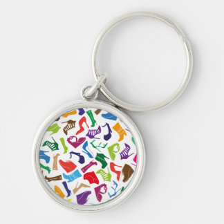 Pattern colorful Women's shoes Silver-Colored Round Key Ring