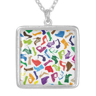 Pattern colorful Women's shoes Silver Plated Necklace