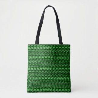 Pattern Dividers 07 in Green over Black Tote Bag