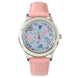 pattern flowers and birds watches
