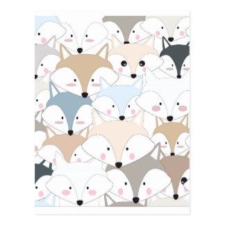 Pattern foxy comic cartoon postcard
