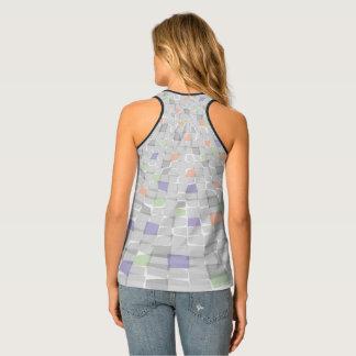 pattern full colour transparent design tank top