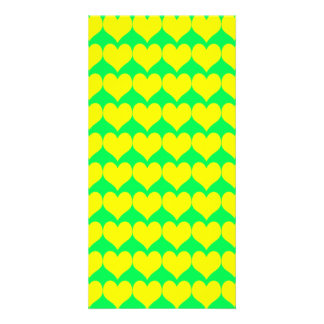 Pattern Green Background with Yellow Hearts Photo Card