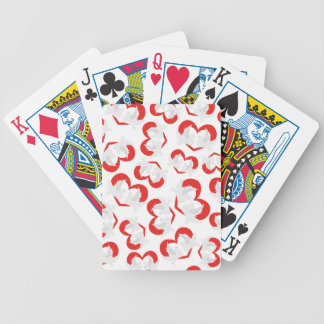 Pattern illustration peace doves with heart bicycle playing cards