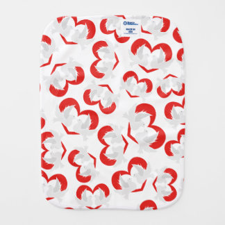 Pattern illustration peace doves with heart burp cloth