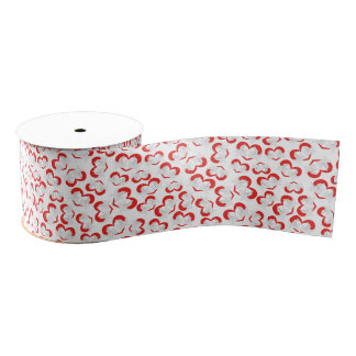 Pattern illustration peace doves with heart grosgrain ribbon