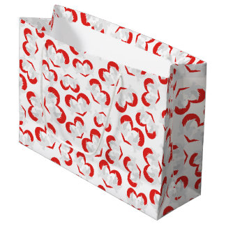 Pattern illustration peace doves with heart large gift bag