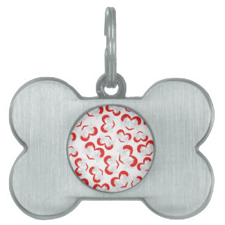 Pattern illustration peace doves with heart pet ID tag