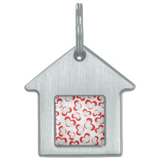 Pattern illustration peace doves with heart pet name tag