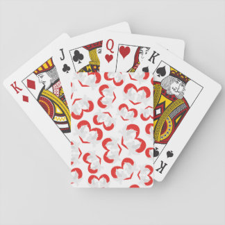 Pattern illustration peace doves with heart playing cards