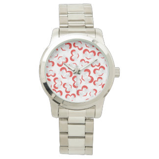 Pattern illustration peace doves with heart watch
