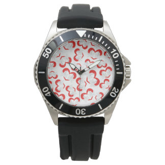 Pattern illustration peace doves with heart watches