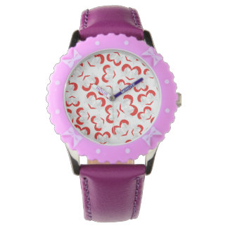 Pattern illustration peace doves with heart wrist watch