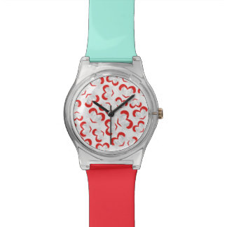 Pattern illustration peace doves with heart wrist watches