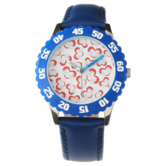 Pattern illustration peace doves with heart wristwatch