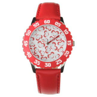 Pattern illustration peace doves with heart wristwatches