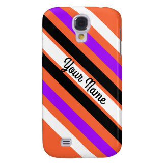 Pattern in Black White Violet Orange Stripes Samsung Galaxy S4 Cover