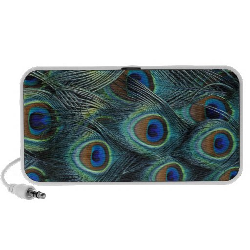 Pattern in male peacock feathers notebook speakers