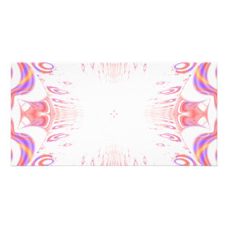 Pattern in Red, Orange and Purple. Customized Photo Card