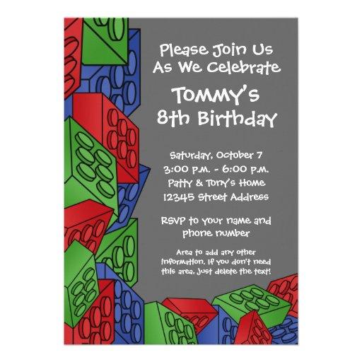 Pattern - Kids Building Blocks Birthday Party Invite