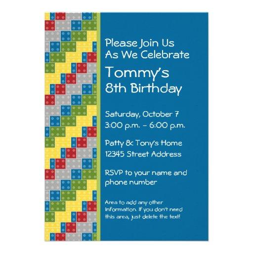 Pattern - Kids Building Blocks Birthday Party Custom Invitation