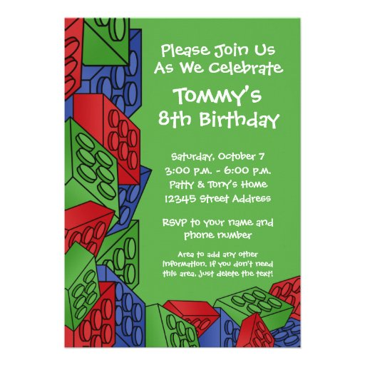 Pattern - Kids Building Blocks Birthday Party Personalized Announcement