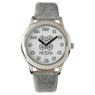Pattern Kid's Silver Glitter Watch