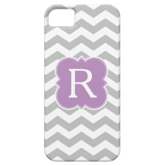 Pattern Lavender and Gray Monogram Chevron Barely There iPhone 5 Case