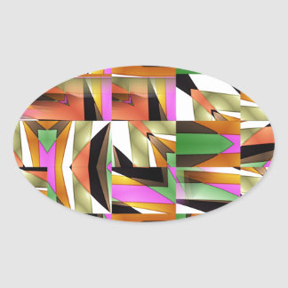 Pattern made of Abstract color tiles Oval Sticker