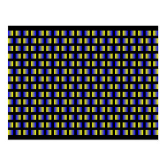 Pattern of blue and yellow squares. postcard