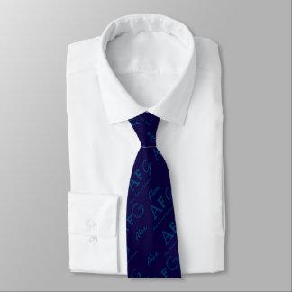 pattern of blue names custom tie