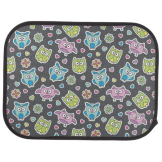pattern of cartoon owls car mat