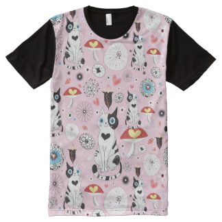 pattern of cats and flowers All-Over print T-Shirt