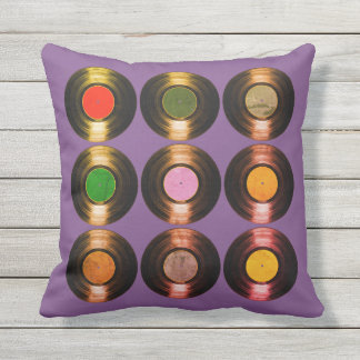 pattern of color vinyl records cool outdoor cushion