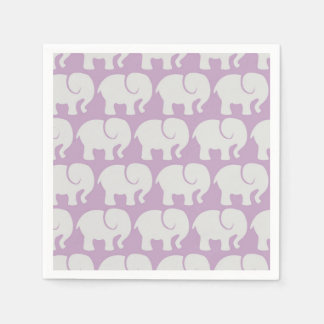 Pattern Of Elephants, Elephant Design - Purple Disposable Napkin