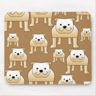 Pattern of Fawn English Bulldogs on Brown Mouse Pad