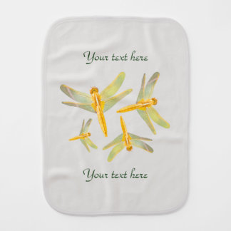 Pattern of Gold Colored Dragonflies Baby Burp Cloth
