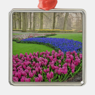 Pattern of Grape Hyacinth, tulips, and 2 Silver-Colored Square Decoration