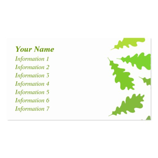 Pattern of Green Leaves. Business Card Template