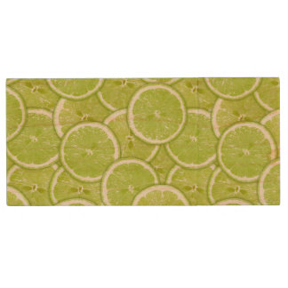Pattern Of Green Lime Slices Wood USB 2.0 Flash Drive