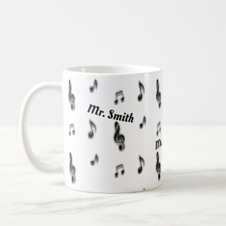 Pattern of Musical Notes Music Teacher Thank You Coffee Mug