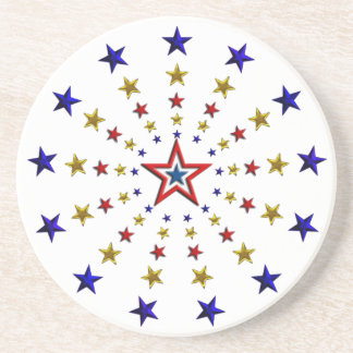 Pattern of Patriotic Stars Beverage Coasters