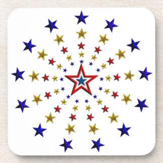 Pattern of Patriotic Stars Drink Coaster