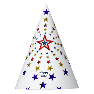 Pattern of Patriotic Stars Party Hat
