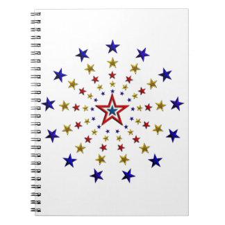 Pattern of Patriotic Stars Spiral Note Book