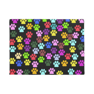 Pattern Of Paws, Dog Paws, Trails - Red Blue Green Doormat